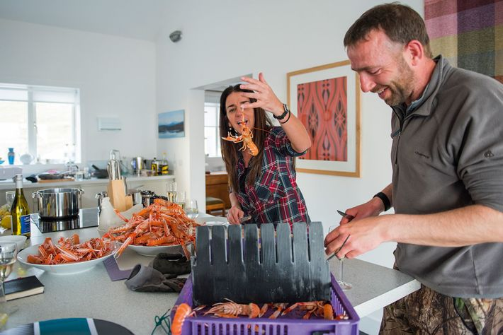 Carol, the owner of the Sound of Harris self-catering properties, tackles the langoustines.