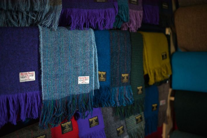 Harris Tweed scarves for sale in Norman's workshop.