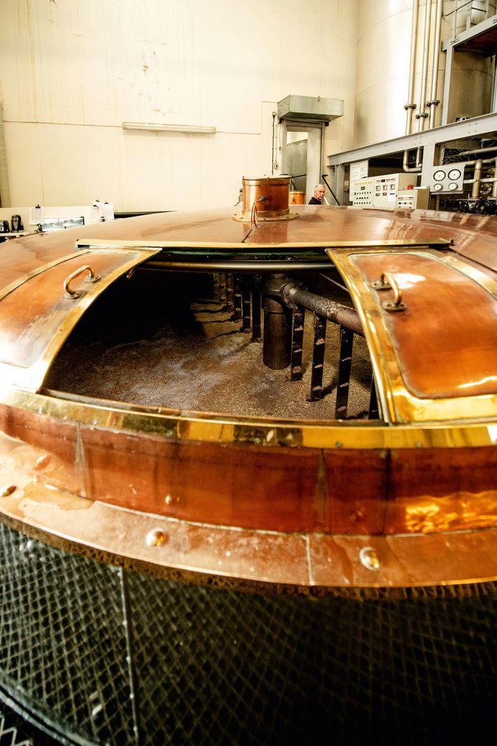 Barley begins its fermentation in the mash tun