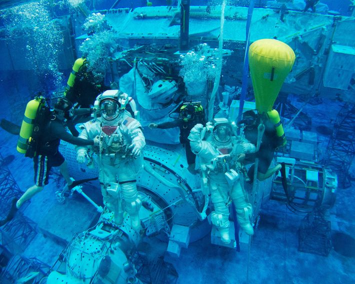 NASA astronaut Scott Tingle (right) is among those selected to prepare for Artemis missions. Here, he ...