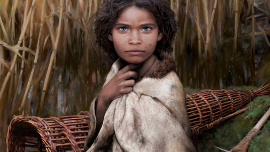 Stone age girl with pitch gum.