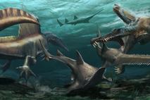 Two Spinosaurus aegyptiacus hunt the prehistoric sawfish Onchopristis in the waters of a river system that blanketed ...