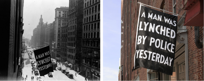 Left: From 1920 to 1938, the NAACP unfurled a flag outside its headquarters on Fifth Avenue in ...