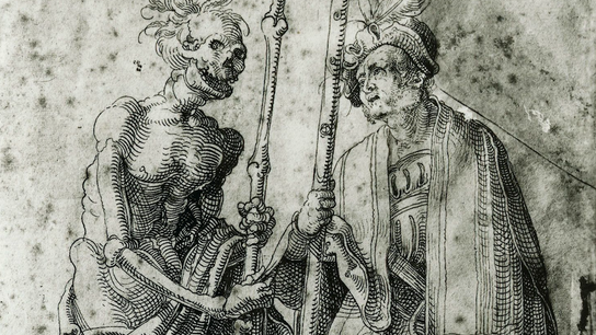 A 16th-century drawing by Hand Baldung Grien depicts a German mercenary speaking with Death. As pandemics ...
