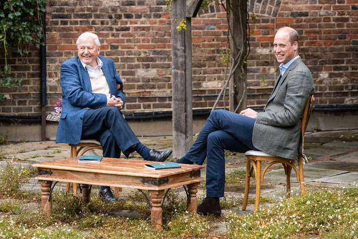 David Attenborough and Prince William launching the Earthshot Prize at Kensington Palace, London. The prize is ...