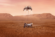 The rocket-powered descent stage gently lowers NASA's Perseverance rover successfully to the surface of Mars in ...