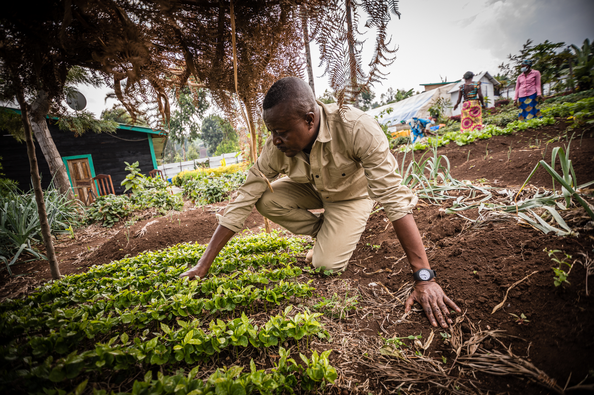 John Kahekwa, conservationist and founder of the Pole Pole Foundation, with some of its community crops.