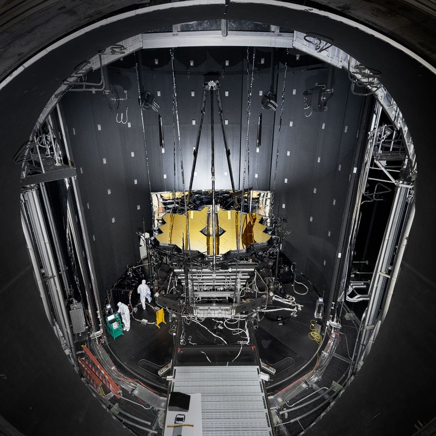 NASA's James Webb Space Telescope is tested in a giant cryogenic chamber at Johnson Space Center ...