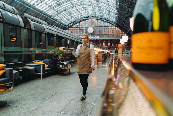Champagne Bar by Searcys in St Pancras Station offersindividual leather booths that seat up to six ...
