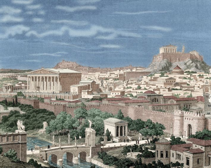 Dominated by the ancient Parthenon (above), this illustration of second-century A.D. Athens shows several of Hadrian's ...