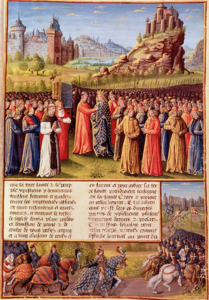St. Bernard of Clairvaux preaches the Second Crusade before Louis VII in Vézelay, in 1146. From ...