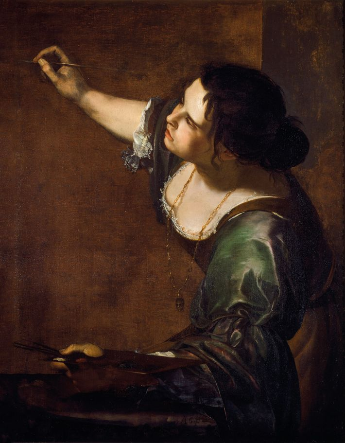 In this self-portrait, Gentileschi is paying homage to an artistic convention of the time: Presenting painting ...