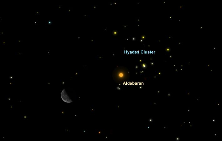The crescent moon will guide you to the brilliant star Aldebaran and the Hyades star cluster ...