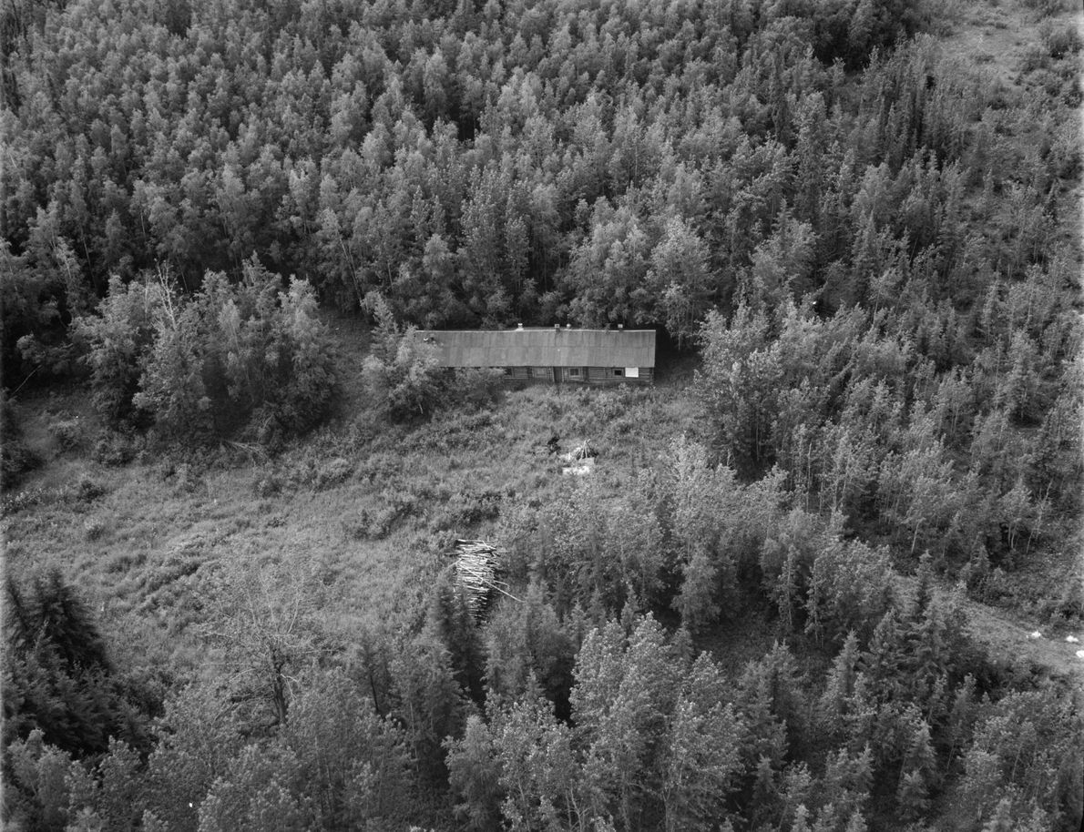 This aerial view of Sullivan Roadhouse between Valdez and Fairbanks, Alaska, was taken during a 1982 ...