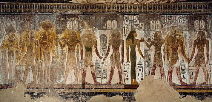 Seti I meets with various divinities in this antechamber. The pharaoh is accompanied by the goddess ...