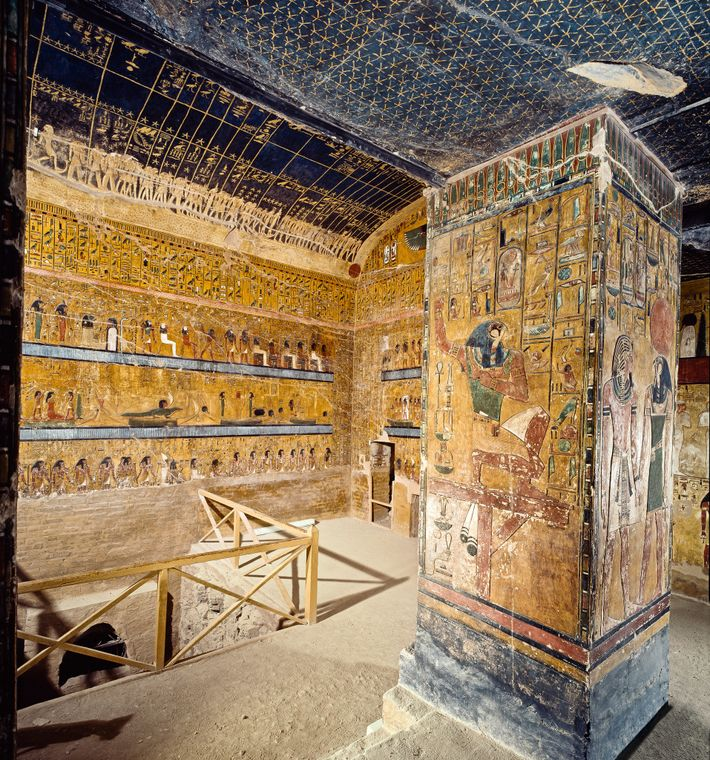 A feast of rich color and detail, the far wall of the exquisite burial chamber of ...