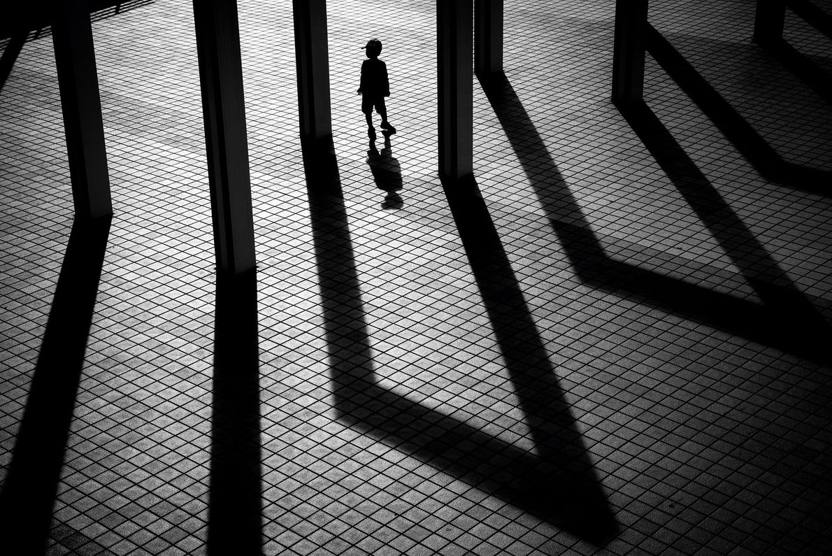 In Tokyo, there are many combinations of geometric patterns and shadows. The shape of the shadows ...