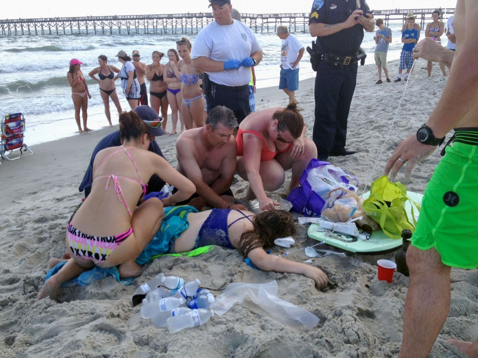 A teenage girl was attacked by a shark in Oak Island, North Carolina, on June 14, ...