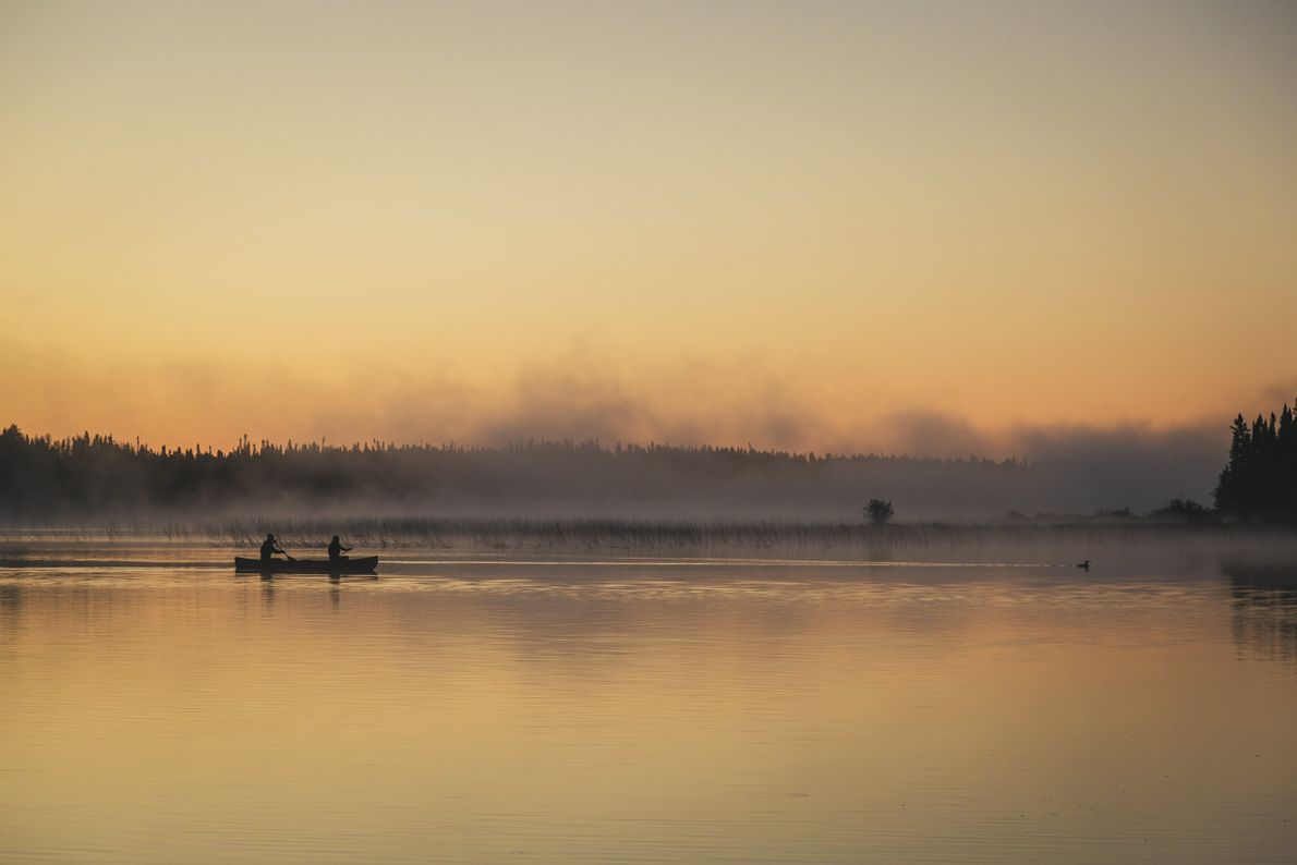 Canoeists in Wabakimi Provincial Park have the choice of selecting trips that are calm and relaxing, ...