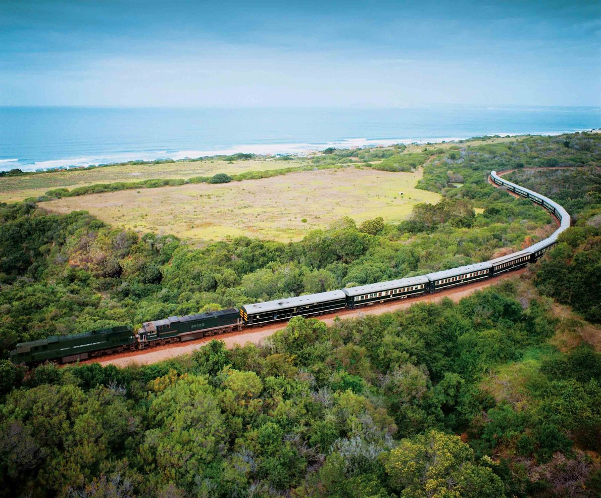 The Shongololo Express pairs a safari with deluxe rail travel in Namibia, South Africa, and Zimbabwe.