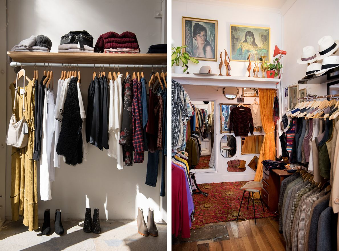 Caughley (left) and Tangent and Company (right) are two of the boutique stores and vintage shops ...