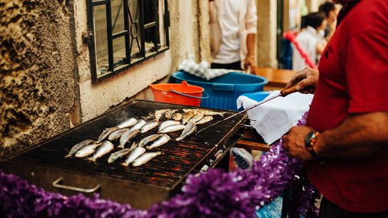 Street food is served in Lisbon ahead of the Feast of St Anthony.
