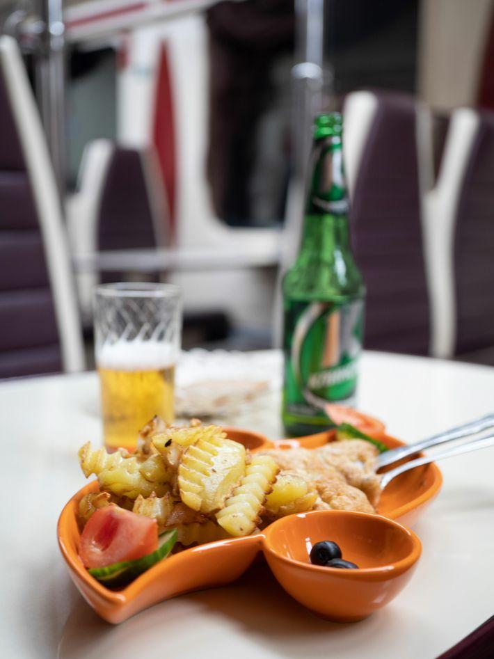 A meal aboard a Trans-Siberian Railway train.