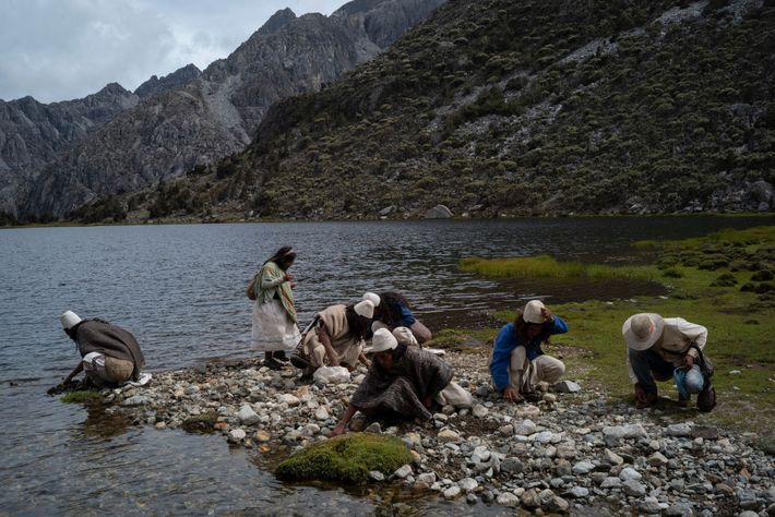 Arhuaco gather colored stones to be used as spiritual payments. Each colour represents a different aspect ...