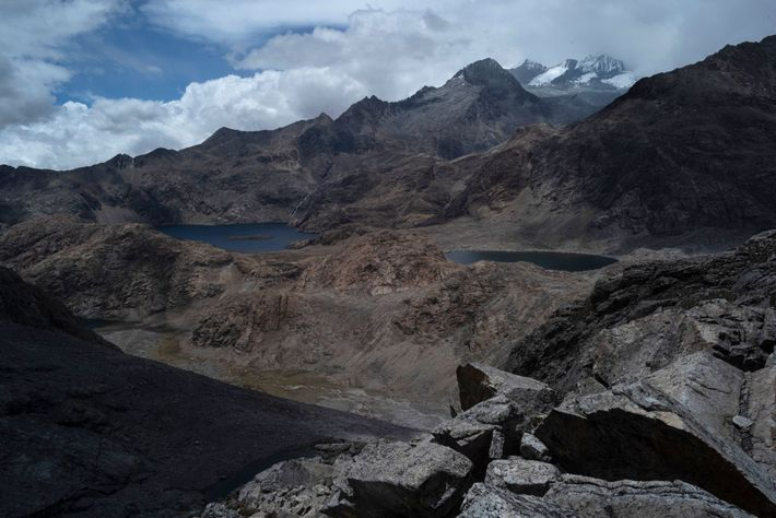 Lake Naboba and the summits of Bolívar and Colón are seen from halfway up the northern ...