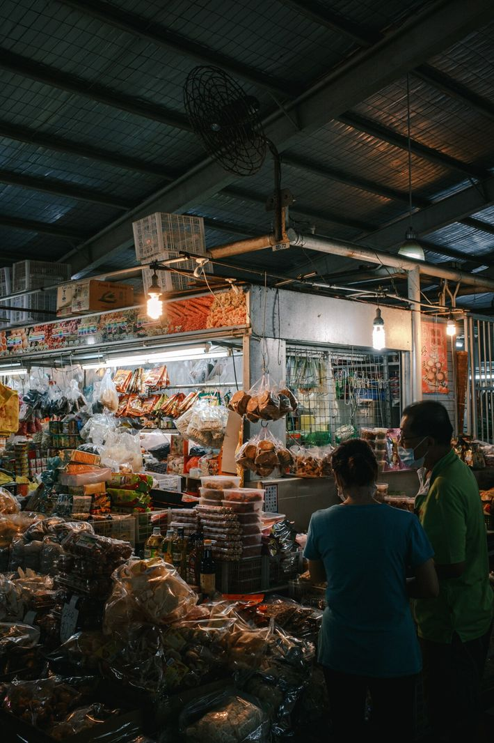 A dried food stand at Singapore's Mayflower Market sells snacks and cooking ingredients.