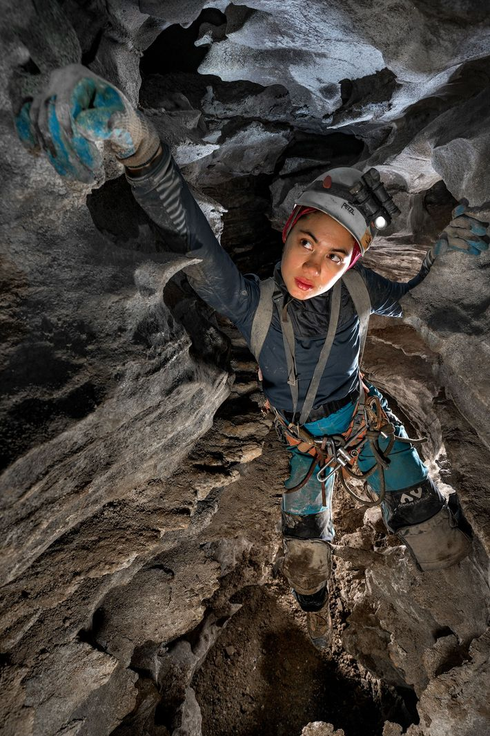 Sonia Meyer works her way through a canyon passage in Sistema Huautla, the deepest cave in ...