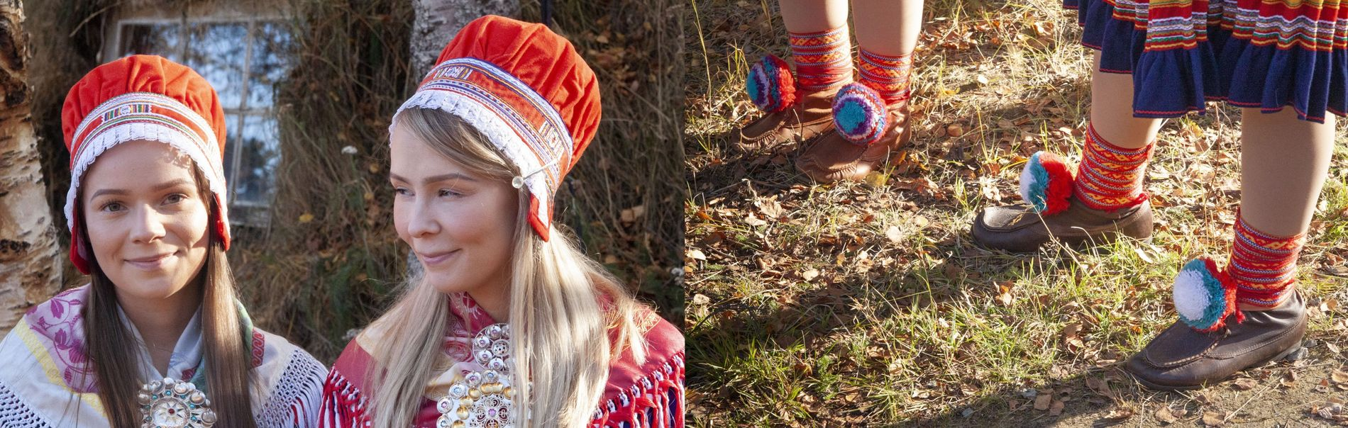 The Oskal sisters, Elin (left) and Anne wearing the Gákti, or traditional Sami clothing. Used for ...
