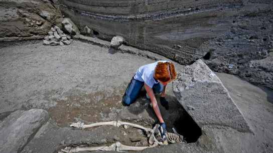 When the victim's body was discovered, Pompeii archaeologists suspected he had been crushed to death by ...
