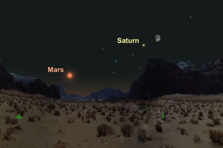 Yellow Saturn cosies up to the waxing gibbous moon on 20th August.