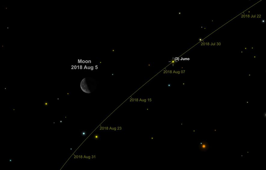 The 160-mile-wide asteroid Juno floats among the stars that comprise the constellation Cetus on 5th August.