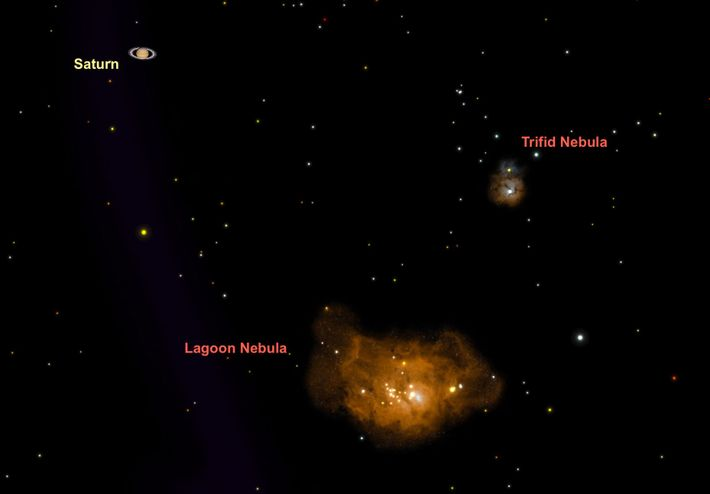 The Lagoon Nebula, a favorite with stargazers around the world, makes an appearance in the Sagittarius ...