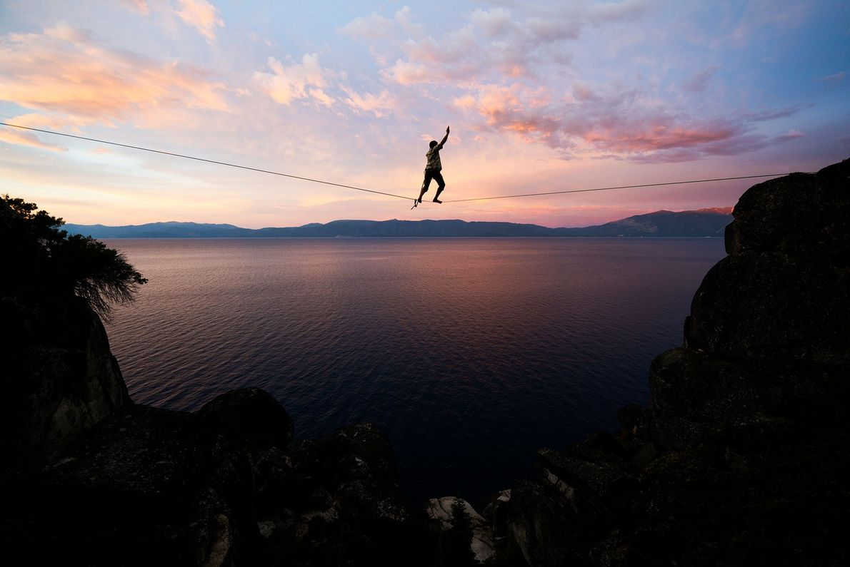 Lake Tahoe's slacklines are a combination of water lines—the longest being 233 feet—and alpine lines. You ...
