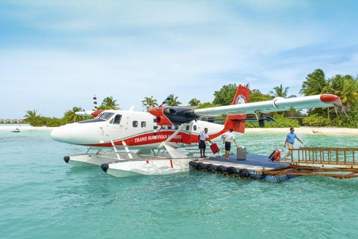 Sea plane lands in the Maldives