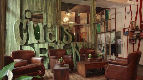 The lobby of a hostel
