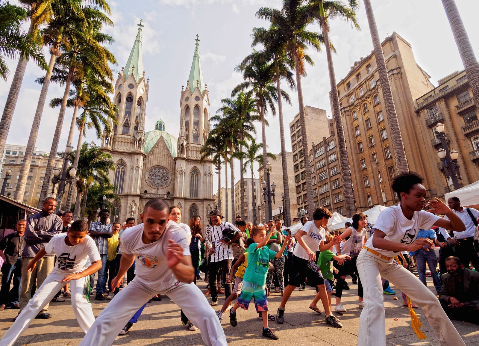 Capoeira performed in front of the Sao Paulo See Metropolitan Cathedral.