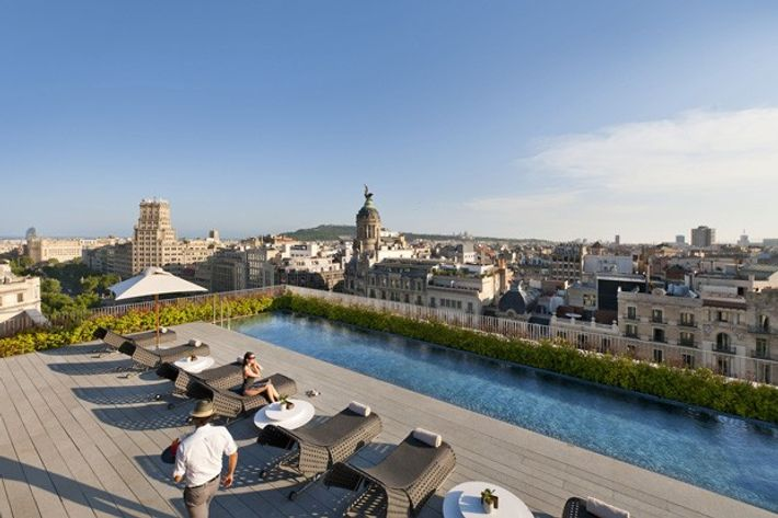 View from the rooftop pool at the Mandarin Oriental hotel, Barcelona