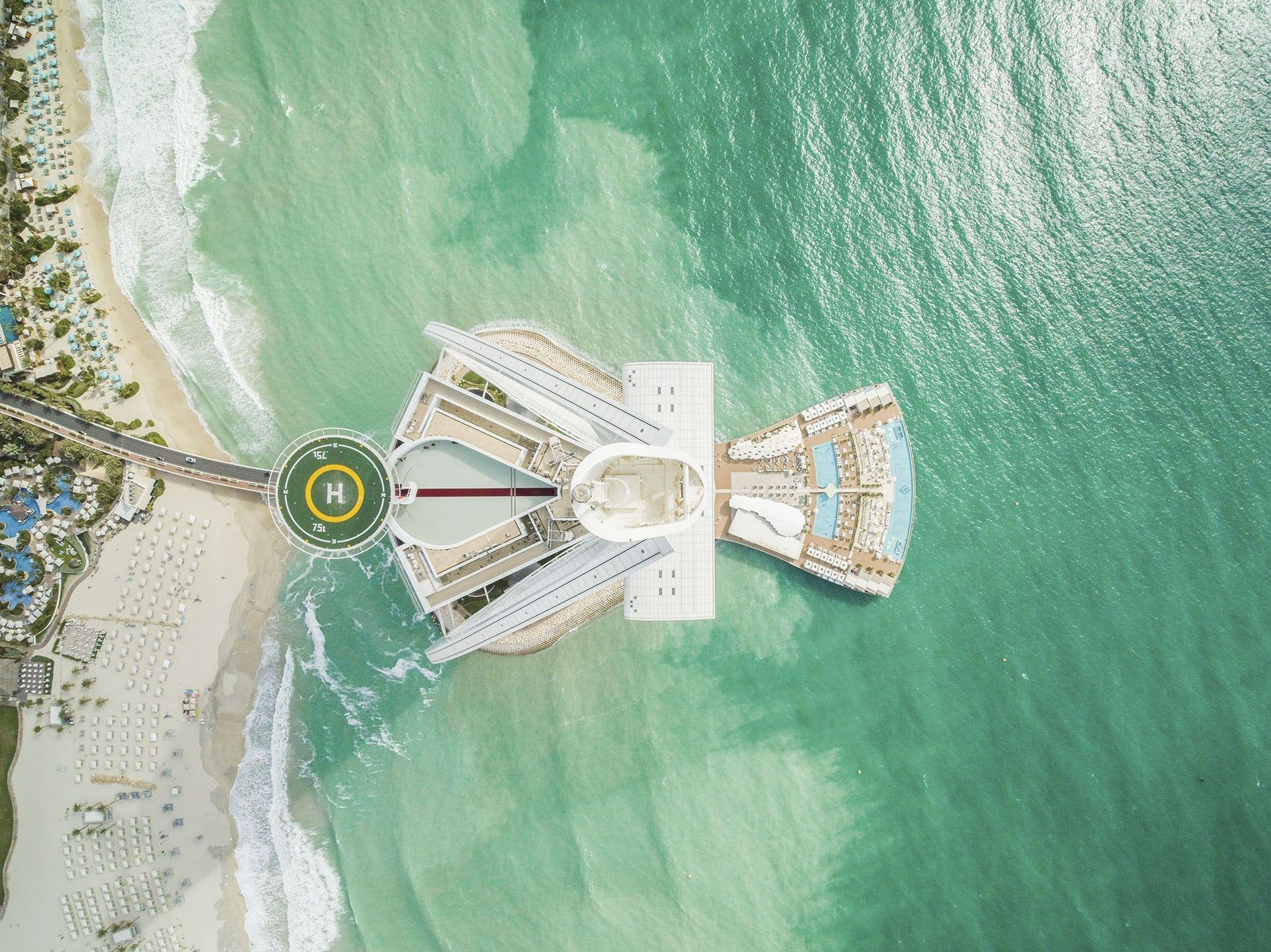 Aerial view of the Burj Al Arab Jumeirah.