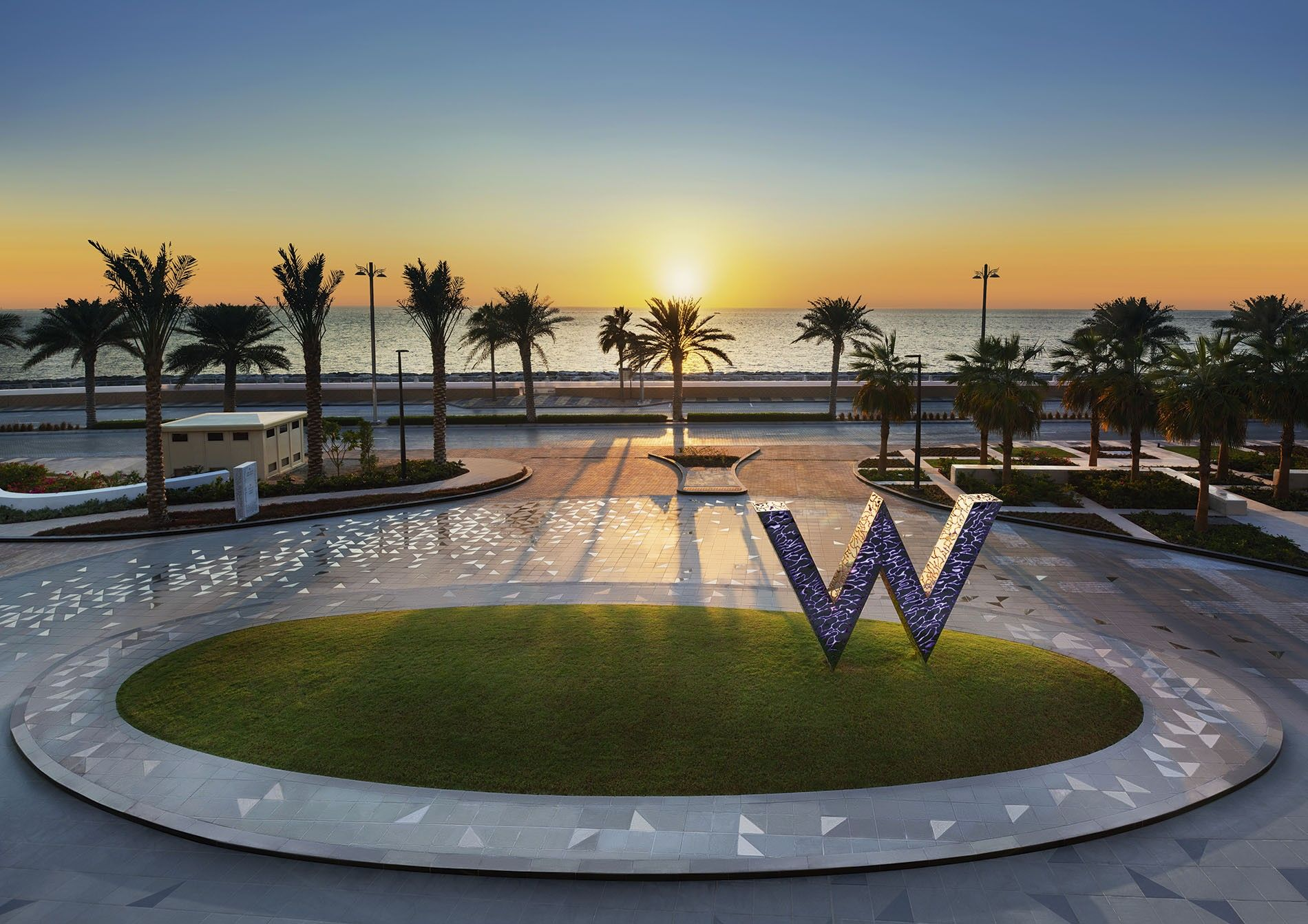 The front drive of W Dubai — The Palm.