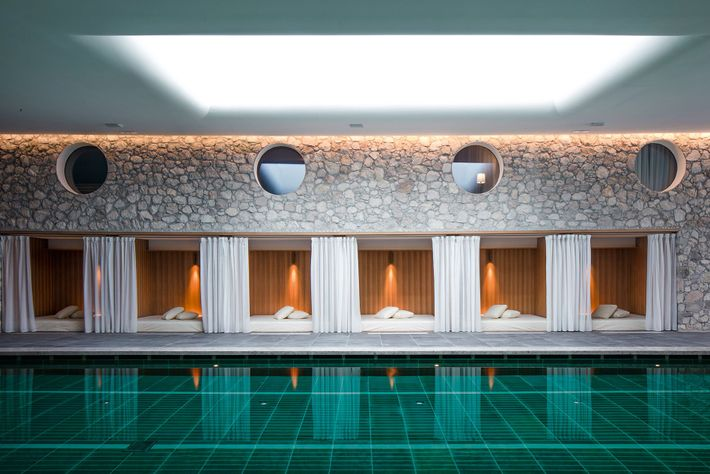 The Faloria Spa Resort's jade-tiled subterranean pool is the perfect place to soothe tired muscles.
