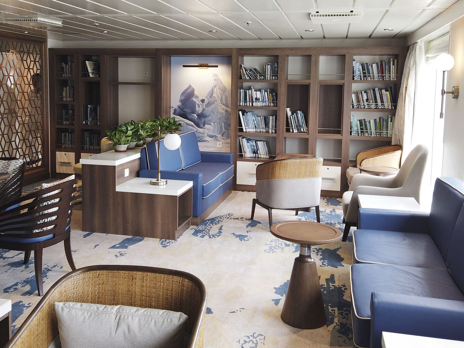 Library aboard the Greg Mortimer.