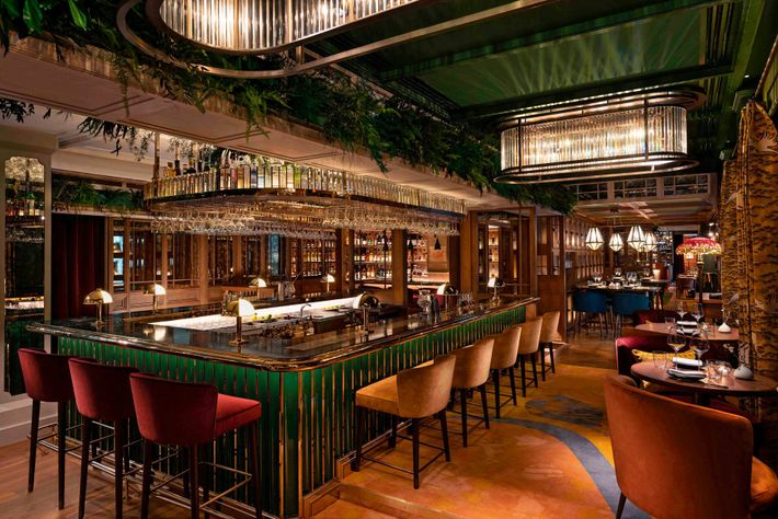 The Aubrey bar at the Mandarin Oriental Hotel –– a madly exciting bar with maximalist interiors ...