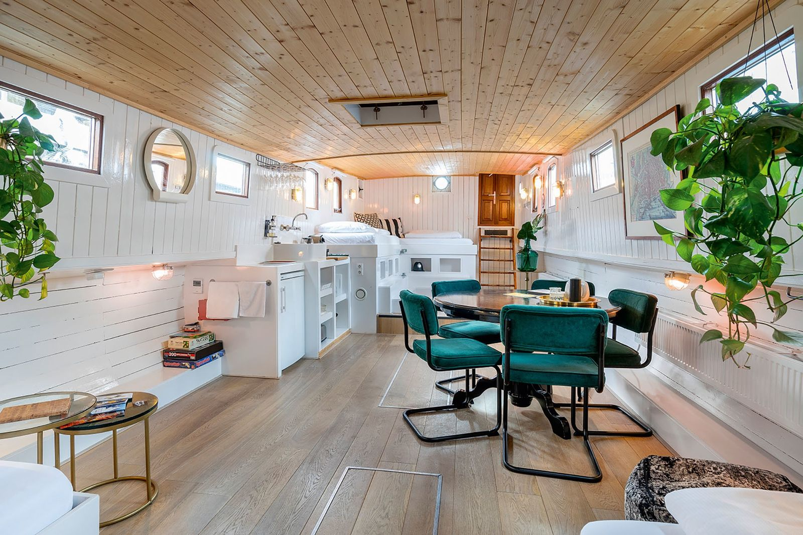 Hotel Asile Flottant sits in De Ceuvel, a shipyard-turned-eco-hub in Noord, where old boats have been ...