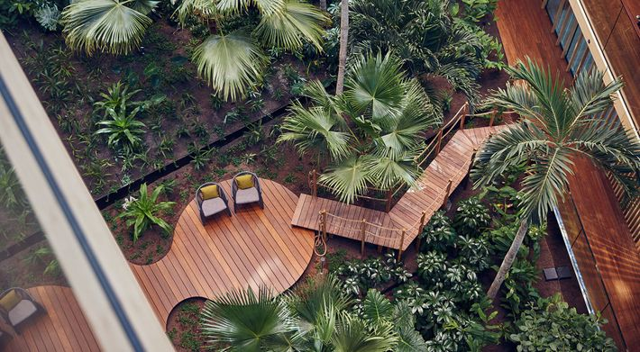 Jakarta is dominated by an indoor subtropical garden and much of building is heatedthrough solar panels ...