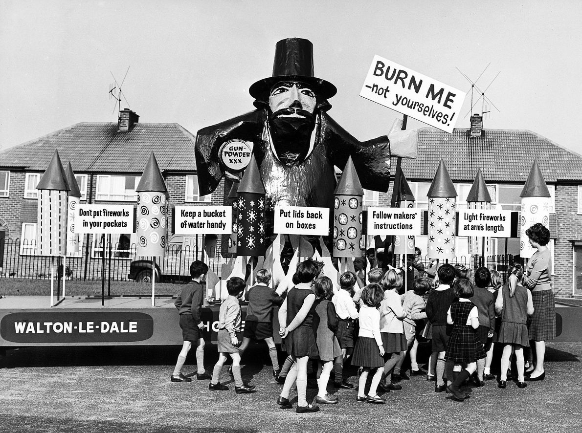"In the 1960s, a somewhat defanged Guy Fawkes helpfully advises children to ""Burn Me—not yourselves!"" in ..."