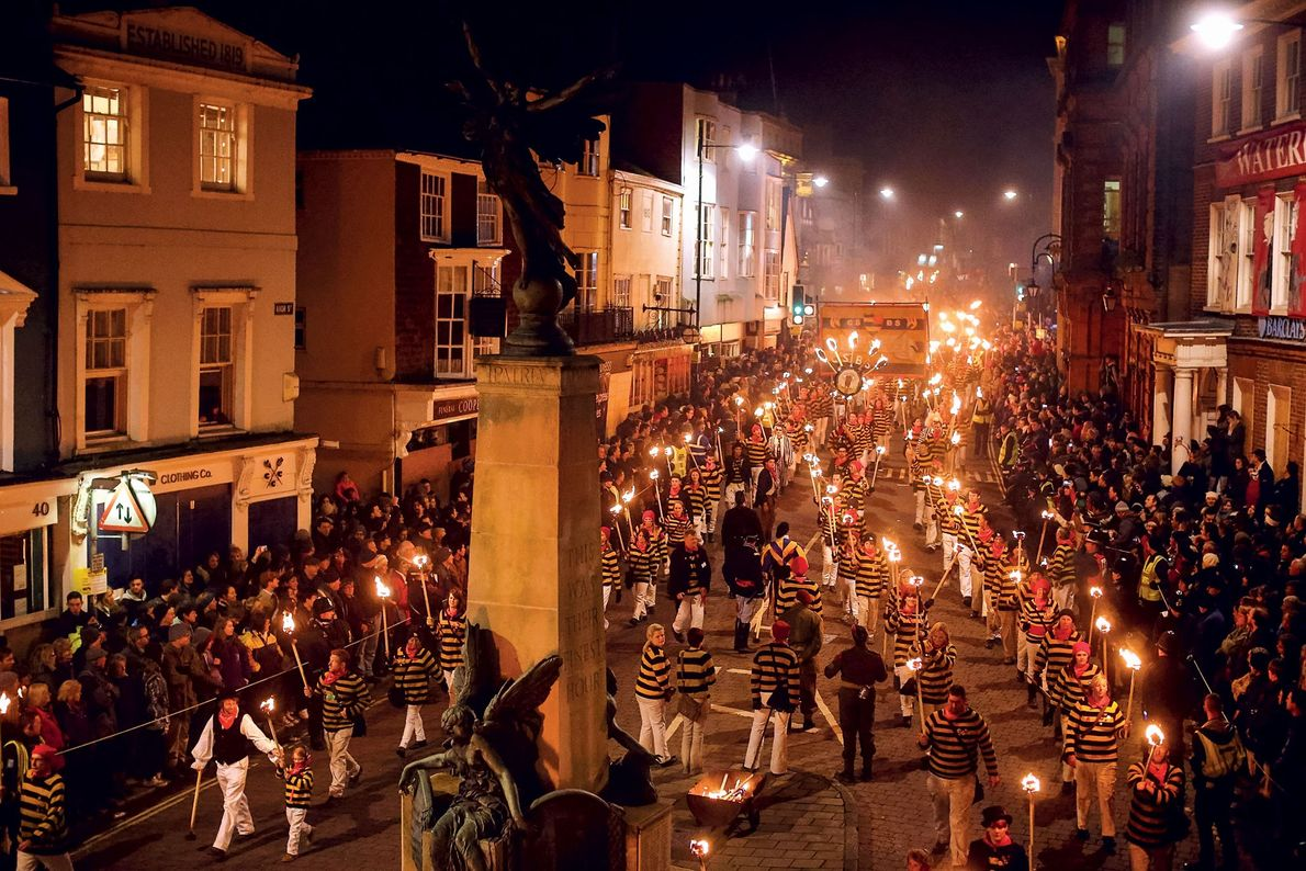 Today's most famous Guy Fawkes celebration is held in Lewes in East Sussex, England, where participants ...